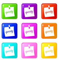 Paper sheet with text qwerty icons 9 set vector