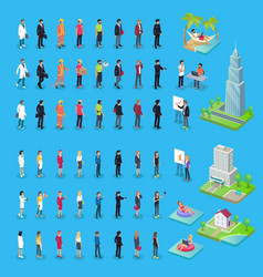 People of various professions and buildings set vector
