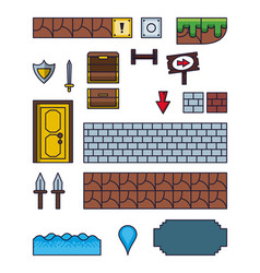 pixelated game icons vector image