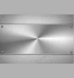 polished metal blank plate on bright gray metallic vector image