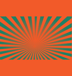 Pop art colorful rays background green and orange vector