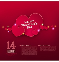 Red hearts with bright highlights vector image