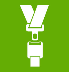 Safety belt icon green vector
