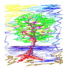 Sakura deciduous tree pond in the sky doodle vector
