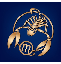 Scorpion Zodiac Sign on the blue background vector