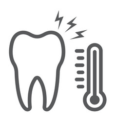 Sensetive tooth line icon stomatology vector