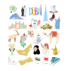 set 25 hand drawing icon symbol from dubai vector image
