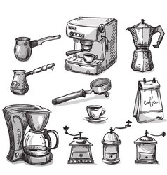 Set coffee making equipment vector image