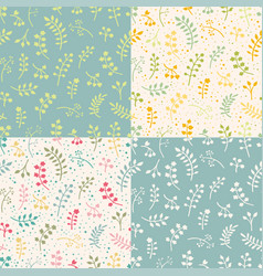 set of floral seamless pattern with leaves vector image