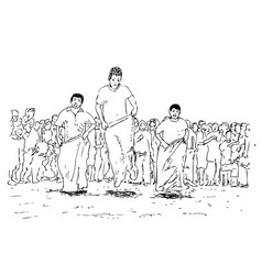 Simple manual hand draw sketch goni sack race vector