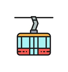 Ski lift cable car cabin cableway flat color vector