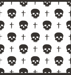 skull and cross symbol seamless pattern hand vector image