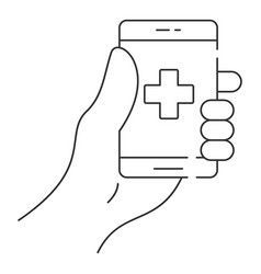 smartphone in hand icon outline style vector image