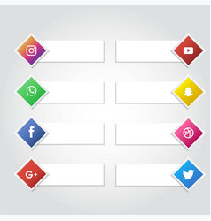 Social media icon banner collection background vector