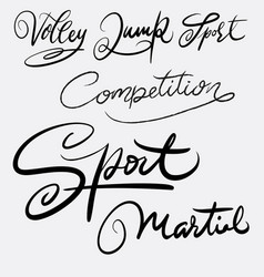 Sport and martial art hand written typography vector