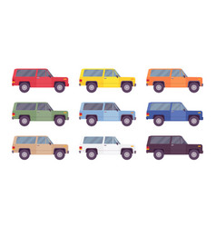 Suv offroad set in bright colors vector