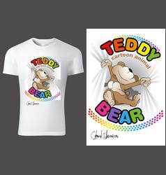 t-shirt design with cartoon teddy bear vector image