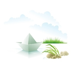 The paper ship on water about a grass vector