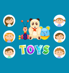 toys for kids children with panda and elephant vector image