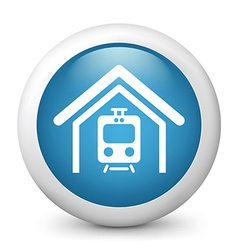 train station glossy icon vector image