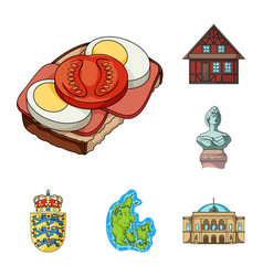 Traveling in denmark cartoon icons in set vector