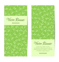 vertical banner green floral pattern vector image
