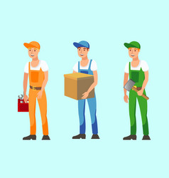 Vocational workers flat set vector