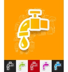 Water tap paper sticker with hand drawn elements vector