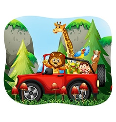Wild animals riding on jeep vector image