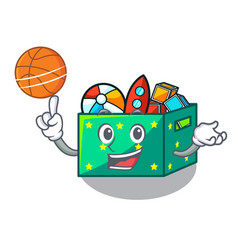 With basketball character wooden box of kids toys vector