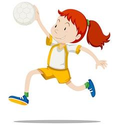 Woman athlete playing handball vector