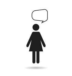 Woman black icon and speech bubble vector