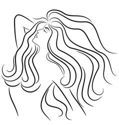 Woman with luxurious hair vector