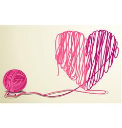 wool heart vector image