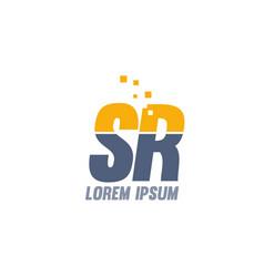 Yellow blue sr s r alphabet letter logo company vector