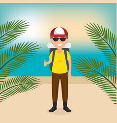 young man on the beach summer vacations vector image