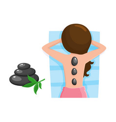 young woman getting hot stone massage in spa salon vector image