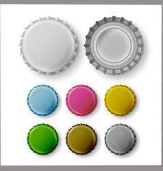 beer cap colorful bottle caps mock up vector image