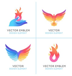 Phoenix birds and fire icons vector