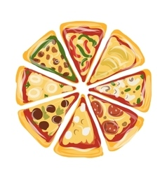 Pieces of pizza sketch for your design vector image
