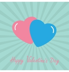 Pink and blue hearts Happy Valentines Day card vector image vector image