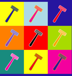 safety razor sign pop-art style colorful vector image