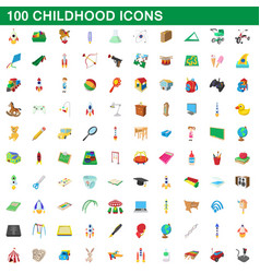 100 childhood icons set cartoon style vector image vector image