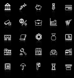 Banking and financial line icons with reflect on vector image