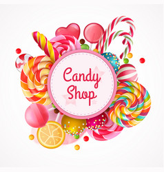 candy shop round frame background vector image