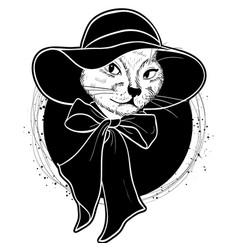 color set of elegant cat woman face vector image