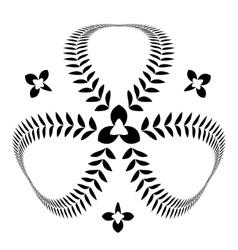 Laurel wreath tattoo Clover trefoil view sign vector image