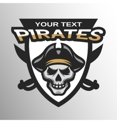 Pirate Skull and sabers badge emblem vector image vector image