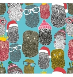 Seamless pattern with cute winter owls vector image