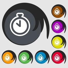 The stopwatch icon sign Symbol on eight colored vector image vector image